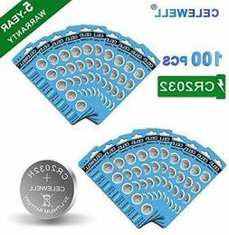 100 Pack CELEWELL CR2032 Battery CR2032H 230mAh 3 Volt Lithi