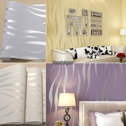 10M - 2016 New 3D Wave Non-Woven Flocking Wallpaper Roll Tv