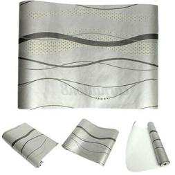 10M Modern 3D Non-woven Wallpaper Curve Stripe Bedroom TV Wa