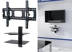 2xhome - NEW TV Wall Mount Bracket & Two  Double Shelf Packa