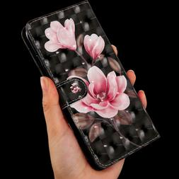 3D Begonia flower Multi-function flip Card slot wallet Leath