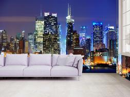 3D New York Manhattan Night View Self adhesive Wallpaper TV