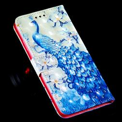 3D Peacock Multi-function card slot pocket Wallet Flip Leath