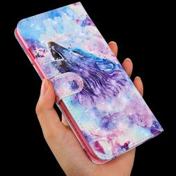 3D Roaring Wolf  Multi-function flip Card slot wallet Leathe