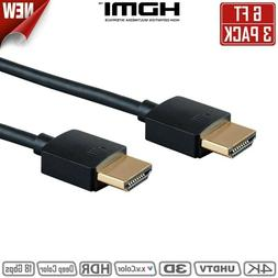 3x 6FT HDMI Cable 4K 60Hz UHDTV HDR 18Gbps 3D 1080p TV BLURA