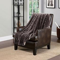 "60""W-80""L Throw 3d Jacquard Brown, Micromink Flannel Reserve"