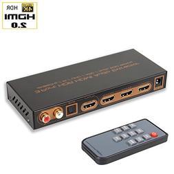 Skycrop 4K@60Hz HDMI Switch Audio Extractor Splitter with Re