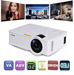 "Gzunelic +30% Lumens Mini Led Video Projector Max 180"" displ"