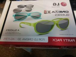 LG AG-F315 PARTY PACK 4pcs for Cinema 3D Glasses Works on AN