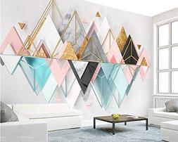BZDHWWH Custom Wallpaper New 3D Triangle Metal Glass Geometr