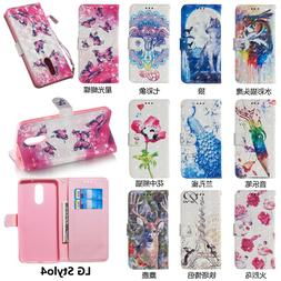 Cute 3D Wallet Leather case cover strap for LG Q Stylus /Q S