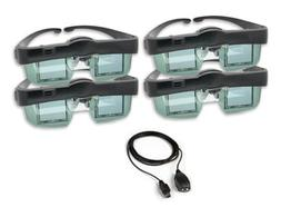 DLP 3D shutter glasses and transmitter family 4 pack for you