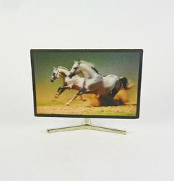 Dollhouse Miniature 1:12 Scale Color 3D TV with White Horses