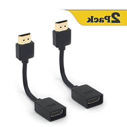 VCE 2-Pack Gold Plated HDMI Male to Female Swivel Adapter Co