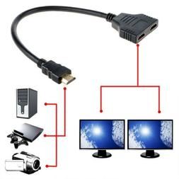 HDMI 1 Male To Dual HDMI 2 Female 4K 3D Y Splitter Cable Ada