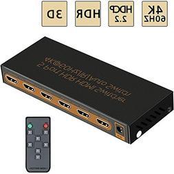 4K@60Hz HDMI Switch 5x1 Awakelion Premium 5 in 1 Out HDMI 2.