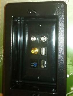 HDMI 3D-TV RCA COAX TV F CAT-5E USB BNC BLACK RECESSED MULTI