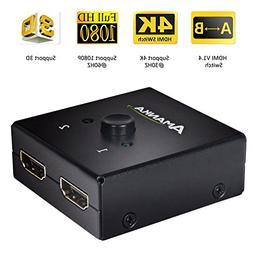 4K HDMI Switch, Amanka HDMI Bi-directional 1x2 / 2x1 AB Swit