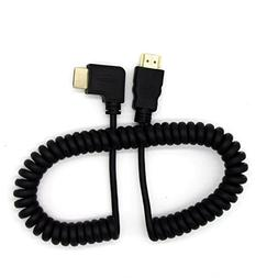 Seadream HDMI to HDMI Cable,Coiled Right Angled HDMI Male to