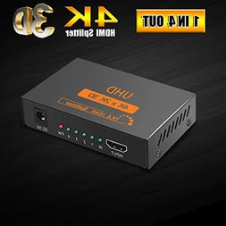Huaka HDMI Splitter 4K, HDMI Powered Splitter 1 in 4 out 4K