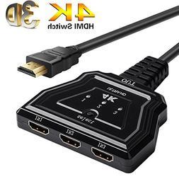 HDMI Switch, 3 Port 4K HDMI Switcher HDMI Splitter with Pigt