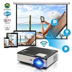 "Video Projector 3500 Lumens Android 200"" Support WiFi Connec"