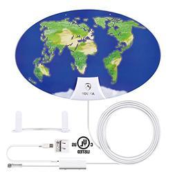 Indoor Amplified TV Antenna, ANTOP Digital HDTV Antenna, 50