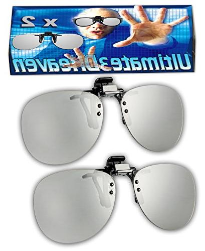 2 pairs - Adult Passive Clip-On 3D Glasses Genuine Ultimate