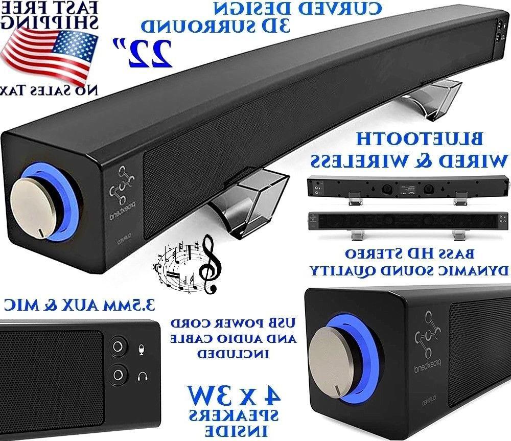 22 curved wireless computer speaker bluetooth 3d