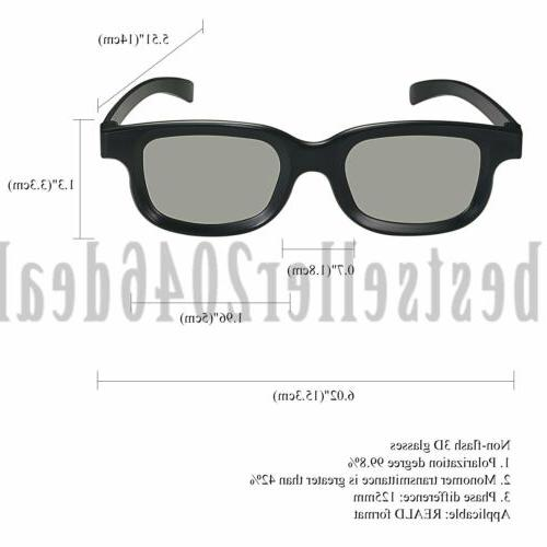 2PCS Polarized Passive TV Glasses Non-flash 3D Clear Women