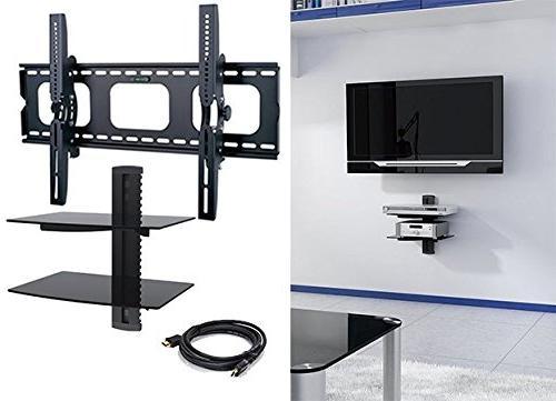2xhome - NEW TV Wall Mount Bracket & Two  Double Shelf Packa