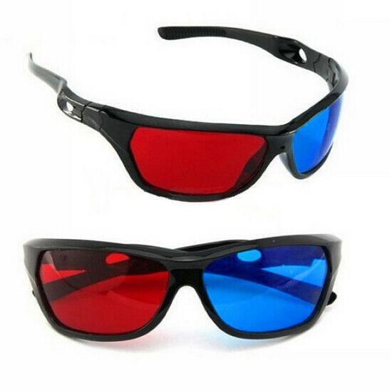 3D Glasses Red Blue Black Frame For Dimensional Anaglyph TV