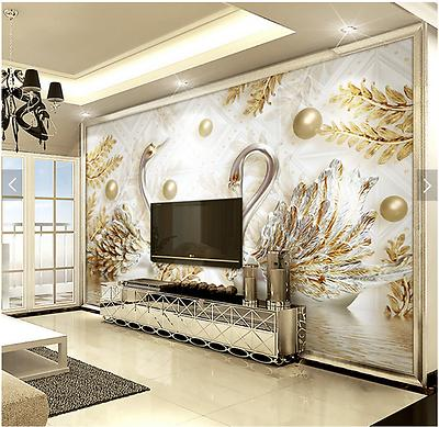 3D Sitting room bedroom TV background Embossed jewelry swan