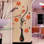 3D Vase Flower Tree Arcylic Wall Sticker Home Room TV Decor