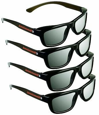 ED 4 Pack CINEMA 3D GLASSES For LG 3D TVs – Adult Sized Pa