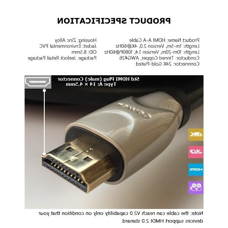 JEELOCK Plated Cable 2.0 <font><b>3D</b></font> 1m 3m 10m 20m for LCD PS3 PS4 Projector