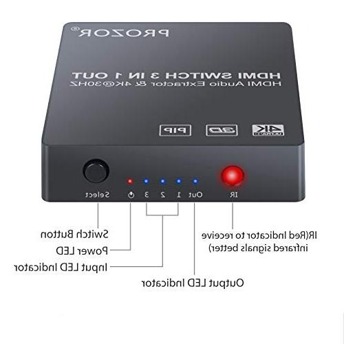 Proster 3x1 HDMI with Audio Extractor Switcher Converter and 3.5mm 2 RCA Audio Cable 3D