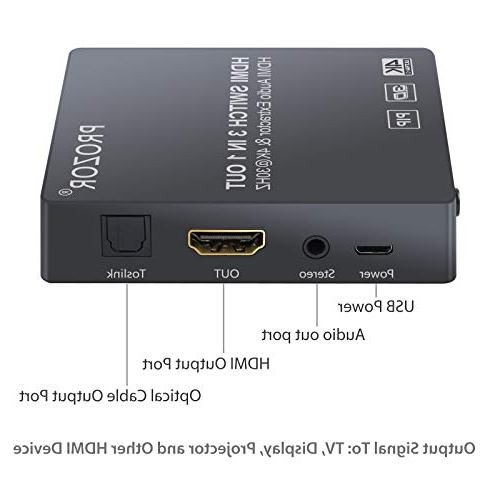 Proster with Extractor Switcher HDMI Include IR Remote and Male to 2 RCA Audio Cable 4K