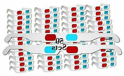 Jtshy 50 Pairs - FLAT- 3D Glasses Red and Cyan WHITE Frame A