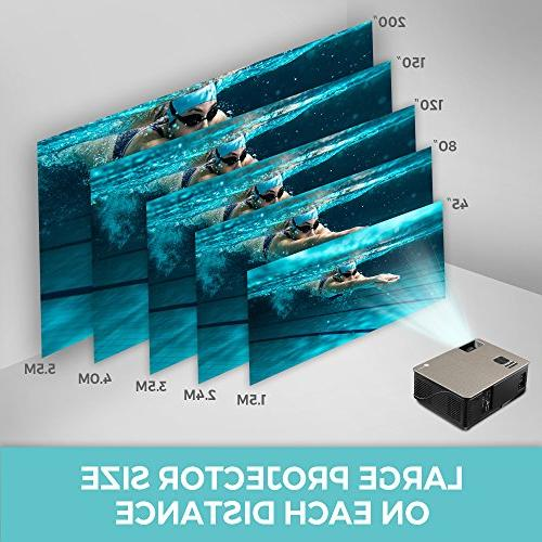Houzetek Multimedia Projectors, Theater Projector 1080P 4000 TV for Home Office(M5