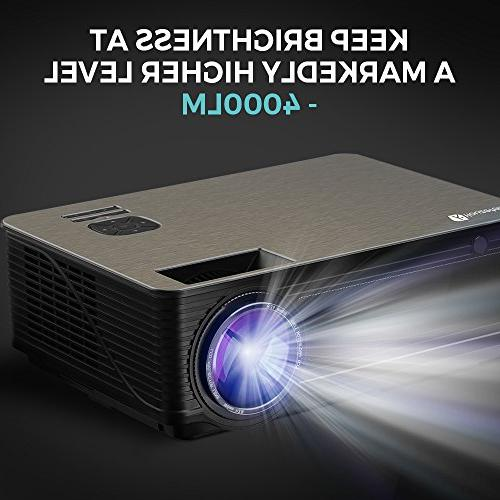 Houzetek Multimedia Projectors, Portable Home Projector HD 4000 Lumens, Support Display, TV Laptop for Home Office(M5