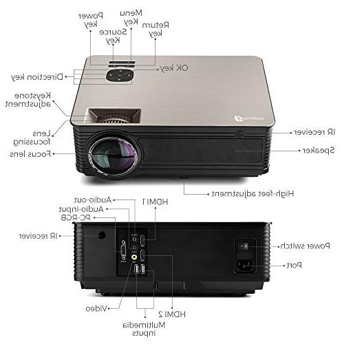 Houzetek Multimedia Projectors, Home Projector with Display, HDMI TV for