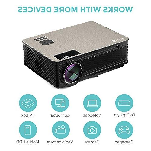 Houzetek LED Video Projectors, Portable Projector with HD 4000 Lumens, TV Laptop USB Smartphone for Office(M5