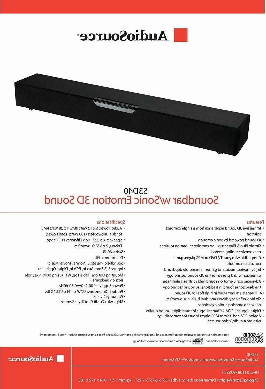 AudioSource S3D40 inch TV Range, 100 Watt 3D Sound