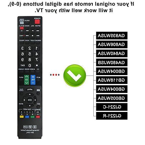 Gvirtue Remote CompatibleReplacement TV/HDTV/ 3D/ LCD/LED, GA935WJSA GA840WJSA GA480WJSB GB004WJSA GB118WJSA