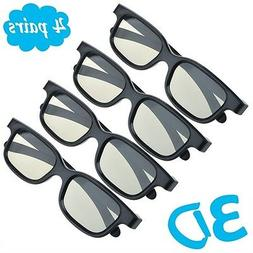 4 Pairs Passive 3D Glasses with Polarized Plastic Lenses for