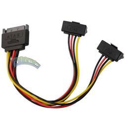 SATA 15 Pin Male to 90 Degree 2 Female 15 Pin HDD Serial ATA