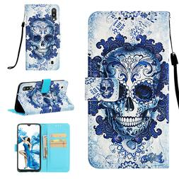 Skull 3D Wallet Leather case cover strap for Samsung M10 M20