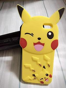 Yellow Pikachu iPhone 6 Plus Case Cute 3D Cartoon Pokemon Ra